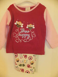 """NEW GIRL'S """"BEE HAPPY"""" PYJAMAS DESIGN IN 3 COLOURS - Ages 6 - 23 Months  NEW"""