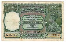 INDIEN INDIA 100 RUPEES 1937 LAHORE RARE FINE- P 20 l