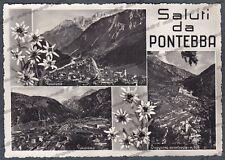 UDINE PONTEBBA 04 SALUTI da... VEDUTINE Cartolina FOTOGRAFICA viaggiata 1956