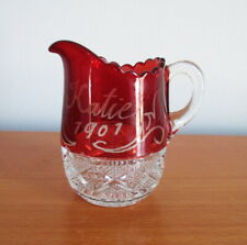 """Antique EAPG Creamer 1901 Ruby Red Flash Etched Katie 3"""" Square In Diamond"""
