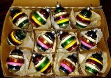 BEAUTIFUL 12 Vintage Mercury Glass XMAS Ornaments UFO Made in USA 2''