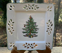 """Spode Christmas Tree England 8"""" Square Pierced Tray or Serving Plate"""