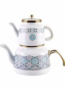 Tea Pot Antic Design Karaca Turkish Tea Pot - Enamel - Caydanlik - Free UK Post
