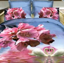 2 Pcs Single 3d Bedsheet PInk Flower Theme Fitted Sheet Cover Linen Collection