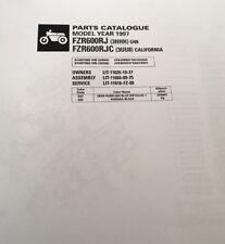 YAMAHA FZR 600 RJ 3HHH RJC 3UU8 PARTS LIST MANUAL CATALOGUE 1997 paper copy.