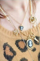 Vintage Necklace Jewelry Gold Pearl Gothic Cameo Dangle Rhinestone Charm Chain