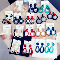 Lady Fashion Boho Geometric Ear Stud Dangle Hook Acrylic Resin Earrings Jewelry