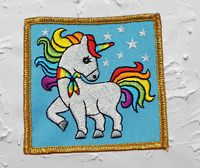 Rainbow Unicorn Badge / Patch Scouts Girl Guides Camp Blanket Gold Border
