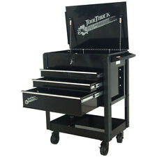 Tool Cart/Trolley. 4 Drawer Quick Assembly Black with Silver Draw Pulls TT403BK