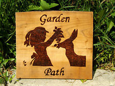 GARDEN PATH SIGN WITH GIRL & DEER: ONE OF A KIND WOODBURNING ON RECLAIMED WOOD