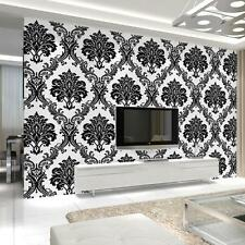 Vintage Luxury Black Damask White Textured Embossed Flocking Wallpaper Roll