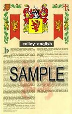 COLLEY Armorial Name History - Coat of Arms - Family Crest GIFT! 11x17