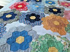 16 Vintage 1930s Colorful Grandmothers Flower Garden Feedsack Quilt Blocks  A