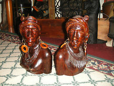 Superb Indian Wood Carvings Man & Woman-Detailed Carved Bookends-Wood Busts-LQQK