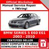 # FACTORY WORKSHOP SERVICE REPAIR MANUAL BMW SERIES 5 E60 2003 - 2010 + WIRING