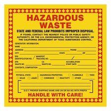 Hazard Labels, Hazardous Waste California, 6X6, Adhesive Vinyl, 100 pk