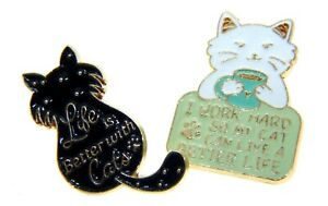 Enamel Pin Badge Cat Appreciation Gift Black and White Pets Funny Quote