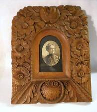 Antique Lrg Hand Carved Oak Wood Picture Frame Black Forest 1900s Arts & Crafts