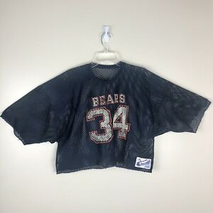 Vintage Champion Chicago Bears Crop Top Walter Payton Mesh Jersey Size XL