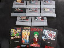 SNES Super Nintendo lot of 8 games - Street Fighter 2 Sim City Lagoon etc GREAT!