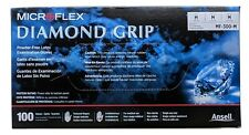 MICROFLEX MF-300-M Diamond Grip Latex Disposable Gloves, Size MEDIUM, Box of 100