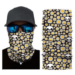 sciarpa bandana tubolare scaldacollo foulard microfibra nera margherite teschi