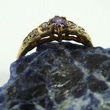 55 (17,5 mm Ø ) Gran Anillo de mujer con Amatista Diamantes 333/8k oro