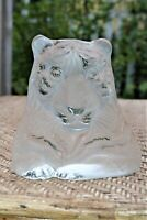 """Viking Glass Frosted Satin Tiger 6"""" Bookend Paperweight Vintage Hand Made"""