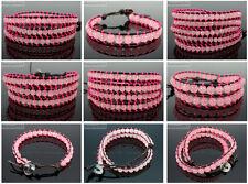 Handmade Natural Rose Quartz Gemstone Beads Wrap Leather Bracelet Healing Reiki