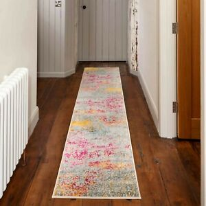 Teal Blue Carpet Runner Rugs Abstract Distressed Pink Moroccan Entrance Hall Mat