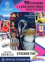 2020/21 Topps Champions League EXCLUSIVE Collectors TIN-90 Stickers & GOLD MEGA