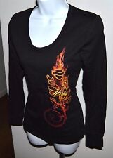 NWT ~ Harley Davidson Flaming Rose L/S T Shirt Top Ladies Sz S Black