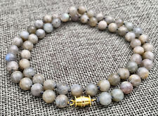 """AAA Natural 6MM Gray Labradorite Round gem necklace 18 """""""
