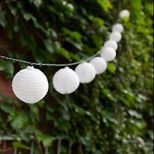 """Solar String 10 Mini White LED Lights,Fairy Lanterns of 2.5"""" Dia. Wedding Party!"""