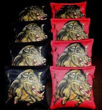 MALE WILD HOG TOP TUSK BLACK RED 8 ACA Regulation Cornhole Bean Bags B295