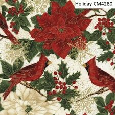 Christmas Poinsettia & Cardinals cotton quilt fabric Timeless Treasures BTY