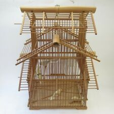 Bamboo Pagoda Bird Cage Asian Matchstick Hanging Wooden Decorative Enclosure