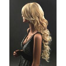 Langhaarperücke Damen Perücke Wigs wie Echthaar 64cm Blond Haar Gelockt Lang Neu