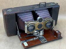 Blair Hawk-Eye Stereo No.4 Antique Red Bellows camera w/ Zeiss Tessar Lens-Rare!