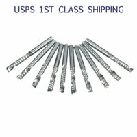 "10X 1/8"" Carbide Flat Nose End Mill CNC Router Bits 1-Flute Spiral 3mm Cutter US"