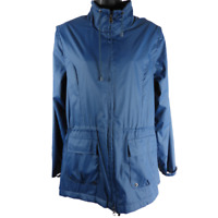 Magellan's Travel Gear Cobalt Blue Drawstring Zip Up Rain Jacket Women's Size M