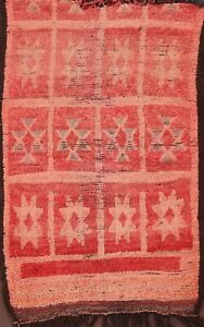 Antique Authentic Moroccan Geometric Oriental Area Rug Hand-knotted Wool 4x6 ft