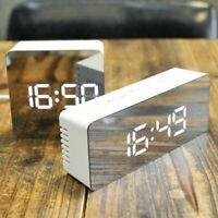 Spiegel LED Wecker Digital USB Uhr Nachtlicht Thermometer Snooze Alarm Mirror