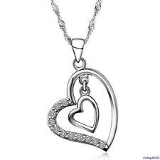 NEU Damen Halskette mit Anhänger Doppelherz Love 925 Silber Zirkonia 111