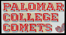 1950 Vintage PALOMAR COLLEGE COMETS Sticker WINDOW DECAL TRANSFER San Marcos CA
