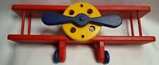 "Boy's Room Wooden Shelf Airplane Red Blue Yellow 24"" X 10"""