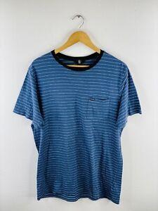 Volcom Men's T Shirt Size L Blue Stripe Casual Logo Short Sleeve Crew Neck