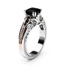 Gorgeous Women 925 Silver Wedding Rings 2.10ct Black Sapphire Ring Size 6-10