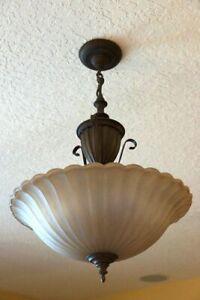 Golden Alabaster Oil Rubbed Bronze Pendant Ceiling Hanging Light Fixture PICKUP