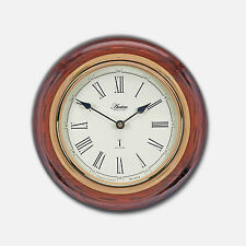 Thetford Radio Controlled Wood Wall Clock 28cm Diameter With Mahogany Finish